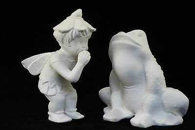 Ready to paint ceramic bisque - Pair- Frog 10 cm tall & Whispering Fairy 12 cm