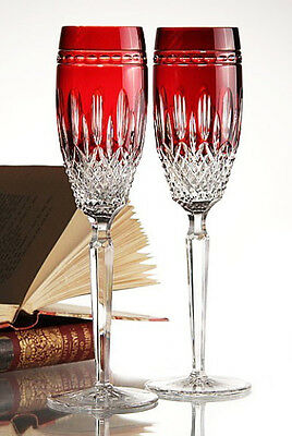 WATERFORD Crystal CLARENDON Ruby Red Champagne Flutes (2) - NICE!