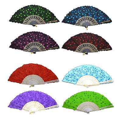 2 PCS Chinese Japanese folding Fabric Fan HAND FAN assorted color