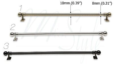 Cafe Rod Net Curtain Pole Extendable Silver Chrome or Brass Metal