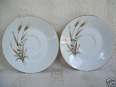 Nasco China Golden Harvest Wheat 2 Saucers