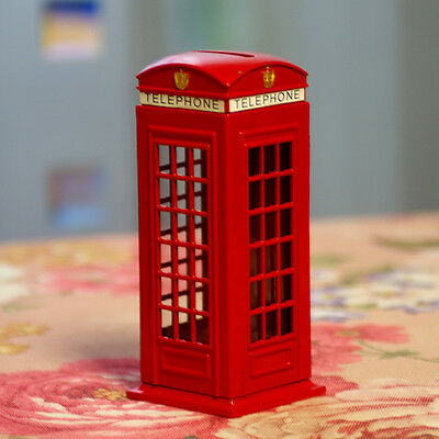 Red Telephone booth saving bank,telephone box shaped coin bank,decorative model