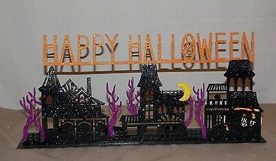 New Halloween Haunted House Mansion Happy Halloween 4 Tealight Candle Holder