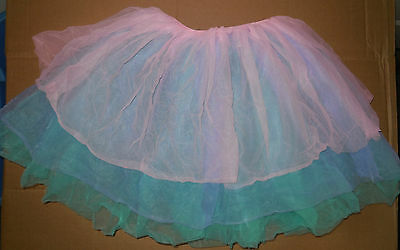 NWT Three Tier Chiffon and Organdy Ballet Skirt Pink Blue Green Girls Small