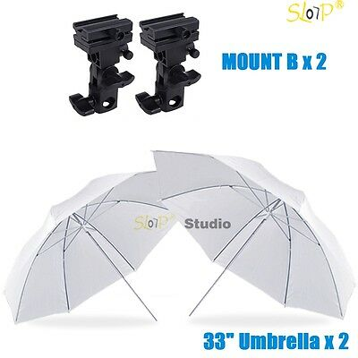 Photography Studio Soft White Umbrella Flash Lighting Stand Speedlite Bracket B