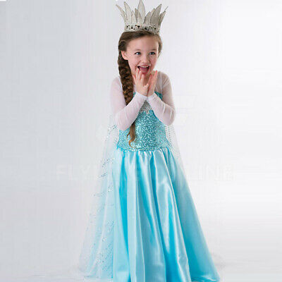 Girls Frozen Queen Elsa Costume Party Birthday Dress + Cape + Tiara + Wand+ Hair