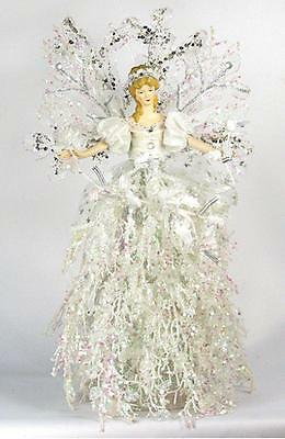 "Holiday Angel Christmas Tree Topper Top 16"" Ice White Silver Branch Flower New"