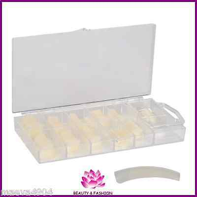 Boite 100 Capsules Tips Petites Encoches Cut Out Naturel Faux Ongles Gel Uv