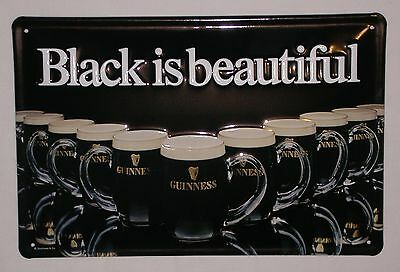 New Guinness Guiness Black is Beautiful Metal Sign