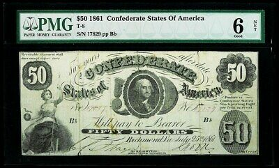 1861 Confederate States Of America $50 Richmond, Virginia Note Pmg Good 6 Net