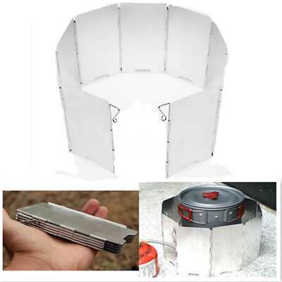 9 Plates Aluminum Foldable Camping BBQ Stove Windshield Screen Outdoor Picnic