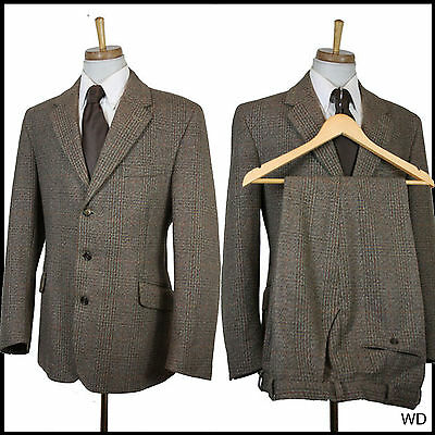 "VINTAGE 1980s 3 PIECE TWEED JOHN BROCKLEHURST SUIT C 42 W 34 L 27 1.5""EXTRA"