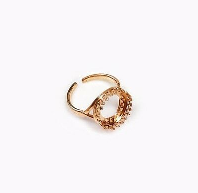 4pcs Quality Cast 16mm Round Bezel RING Setting Rose Gold Plated Brass 8482RP
