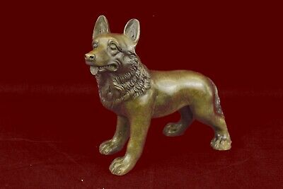 Signed Vintage  Hot  Painted Vienna Bronze Puppy Dog Statue Sculpture Sheppard