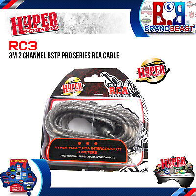 Hyper Connections 3M 2-Channel Pro Rca Interconnect Car Audio Amp Cable 5 Meter