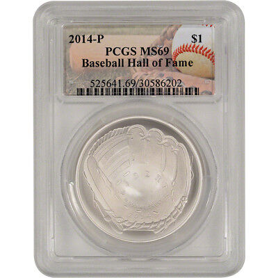 2014-P US Baseball Commemorative BU Silver $1 - PCGS MS69 - Hall of Fame Label