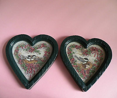 2 Home Interior Chickadee Heart Pictures, Bird Pictures, HOMCO, Wall Decor