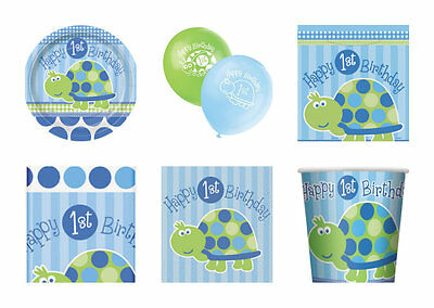BABY BOYS 1ST BIRTHDAY BLUE TURTLE PARTY PACK FOR 16 PLATES CUPS NAPKINS BANNER