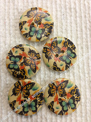 5 x LARGE WOODEN BUTTONS with VINTAGE BUTTERFLY DESIGN - 30mm  - #B215