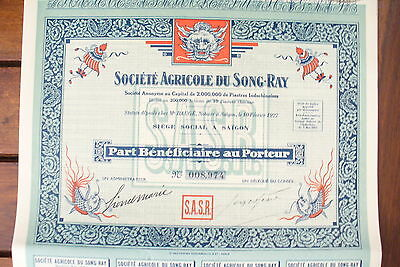 "ACTION  COMPAGNIE ""  SCTE AGRICOLE SONG RAY  N° suivant !! 1927 ... ***"