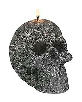 """3"""" Charcoal Gray Glitter SKULL CANDLE Wicca Pagan Witch Samhain Halloween"""