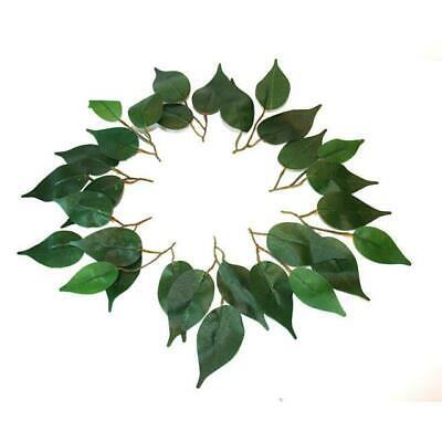 40 Leaves Ficus  - artificial silk plain green leaf ficus leaves wedding craft