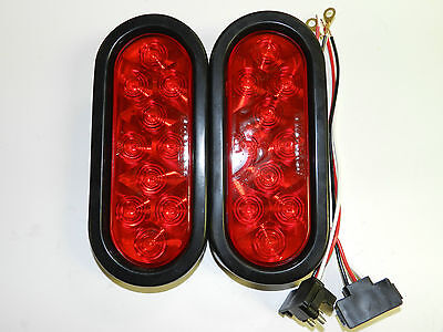 """(2) Trailer Truck LED Sealed RED 6"""" Oval Stop Turn Tail Light w/grommet & plug"""