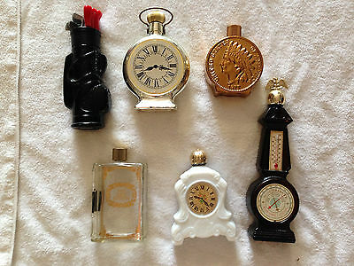 Avon Vintage Bottle Lot Of 6 Pocket Watch Indian Head Book Golf Thermostat USED