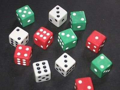 "NEW DICE SET 12 Pack, Red, White & Green Fun Dices - ""Perfect for all Games"""