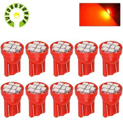 10X Red T10 194 8-SMD LED Interior License Tag Dome Map Door Light Bulbs