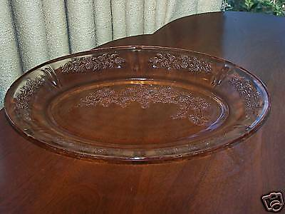 "SHARON PINK by FEDERAL GLASS CO 12 /2"" OVAL PLATTER"