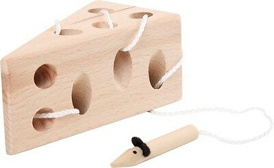 Wooden Threading Mouse Cheese Block Toy Fun Educational Lacing Learning Aid