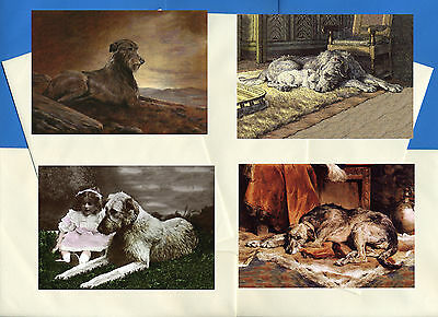 Irish Wolfhound Pack Of 4 Vintage Style Dog Print Greetings Note Cards #1