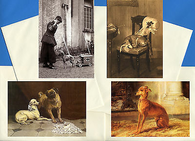 Italian Greyhound Pack Of 4 Vintage Style Dog Print Greetings Note Cards #1