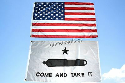 LOT 3' X 5' U.S.  AMERICAN & US  COME AND TAKE IT GONZALES FLAG 3X5