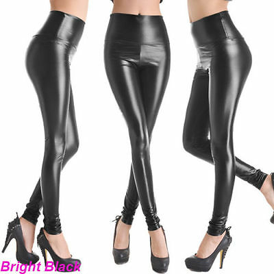 Sexy Womens High Waist Wet Look Faux Imitation Leather Leggings Pants
