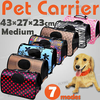 Pet Carrier Dog Cat Puppy Folding Travel Carry Bag Portable Cage Crate Middle AU