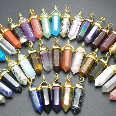 Natural Gemstones Healing Hexagonal Pointed Reiki Chakra Gold Cap Pendant Beads
