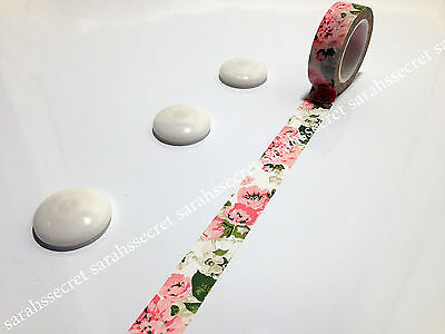 Japanese Washi Tape 15mmx10m Pink Green Floral Flower #W219