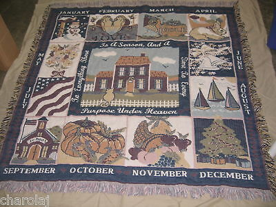 """Homco Home Interiors""""To Everything There is a Season"""" 12 Month Throw Tapestry"""
