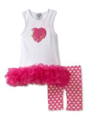 NWT Mud Pie Baby Girl Heart Tunic and Bike Shorts - Size 0-6 Months