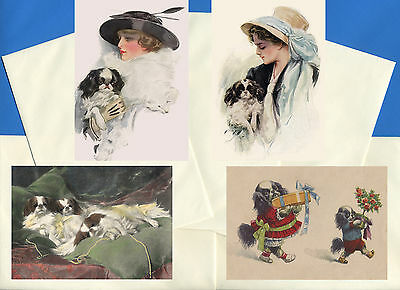 Japanese Chin Pack Of 4 Vintage Style Dog Print Greetings Note Cards #2