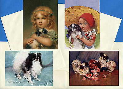 Japanese Chin Pack Of 4 Vintage Style Dog Print Greetings Note Cards #3