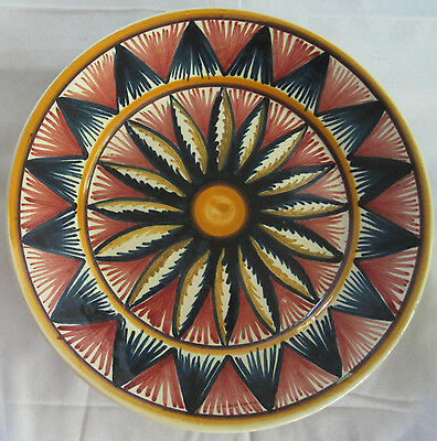 VINTAGE HP QUIMPER FRENCH FAIENCE SIGNED BRETON BOLD FLOWER  PLATE - FRANCE