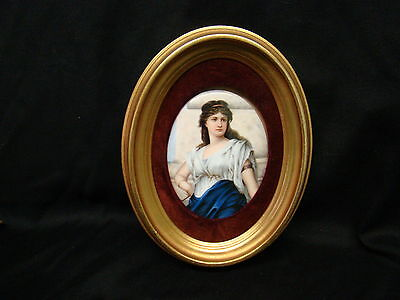 Magnificent Antique Porcelain Hand Painted Plaque of Young Gorgeous Girls Signed