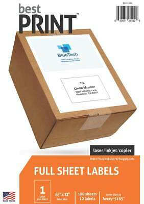"Full Sheet Best Print ® Address Labels  8-1/2"" x 11"" Same size # 5165 100pk"