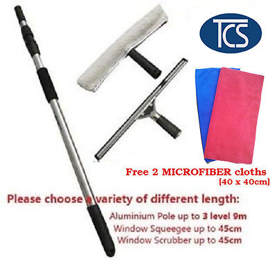 Extendable Window Cleaning Set Kit Telescopic Pole Up To 9 M Cleaner Squeegee