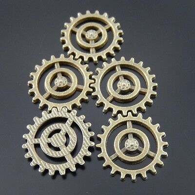 30X Vintage Style Bronze Tone Gear Pendant Charms Findings 17*17*1mm