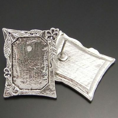 Antique Silver Look Photo Frame Earring Stud 6PCS 24*20  mm Hot Sale