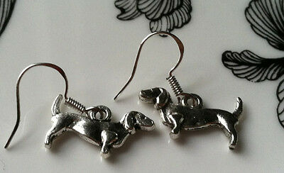 Dachshund Dog Earrings silver, .925 Sterling Silver Wires animal weiner pet show